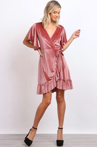 Velvet Wrap-Around Dress