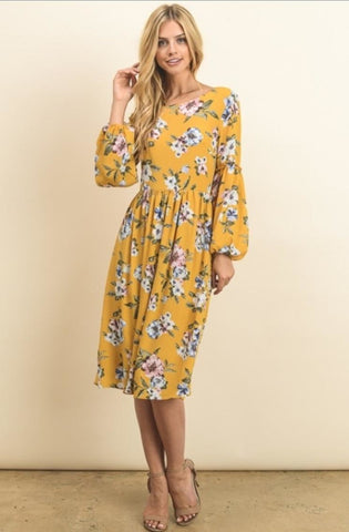 Mustard Yellow Tea dress