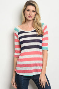 Turquoise/Navy/Coral striped light cotton Tee