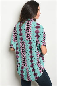 Turquoise and Plum Short Sleeve Cardie