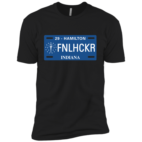 Image of Indiana FNLHCKER license plate Premium Short Sleeve T-Shirt