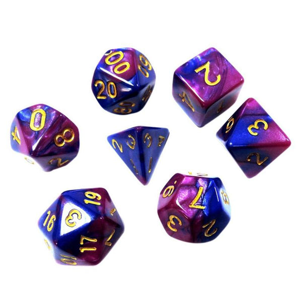 7pcs/Set Blue-purple Acrylic Polyhedral Dice Toys Role Playing Table Dice Set Kids Number Learning Education Toys Play Game Toy