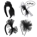 4pcs Women Girls Headdress Elegant Lace Flower Beads Hair Clips Hair Bands Party Hair Accessories (Black)