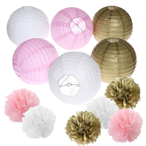 12pcs Tissue Paper Pom Pom Flowers and Paper Lanterns Party Decoration