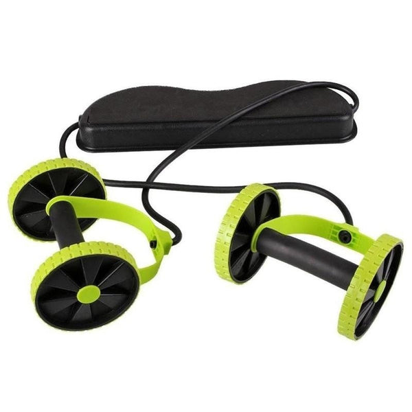 Double Wheels Ab Roller Pull Rope Waist Abdominal Slimming Equipment
