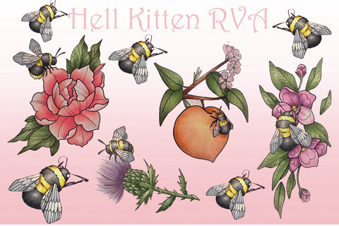 The Bees Knees 4x6 Sticker sheet by Kitten Von Munster