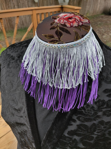 Divine Possum Fringe Collar Silver & Purple