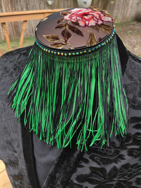 Divine Possum Fringe Collar Lime Green & Black