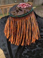 Divine Possum Fringe Collar Neon Orange & Black