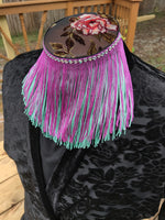 Divine Possum Fringe Collar Purple & Light Teal