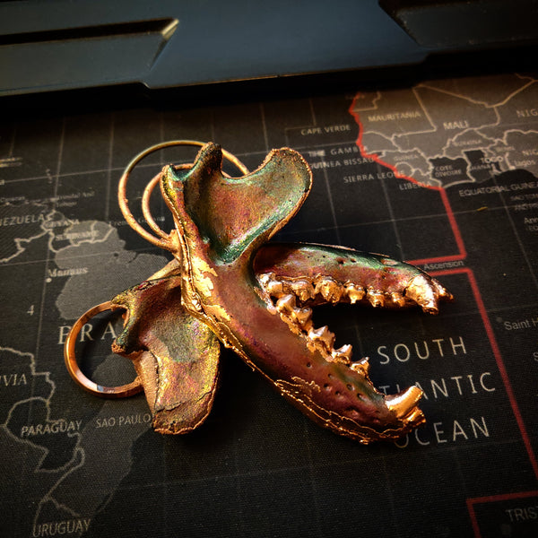 Resin and Copper Racoon Jaw