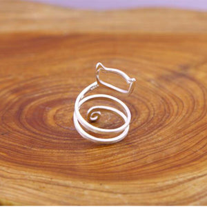 Sterling Silver Wrap Around Cat Ring