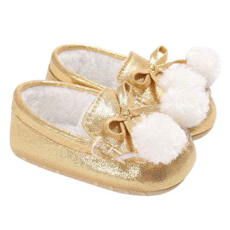 1595cde40b56 3 Colors Baby Girls Shoes Sweet Princess Bowknot Winter Warm Shoes for Kids  Girls First Walkers