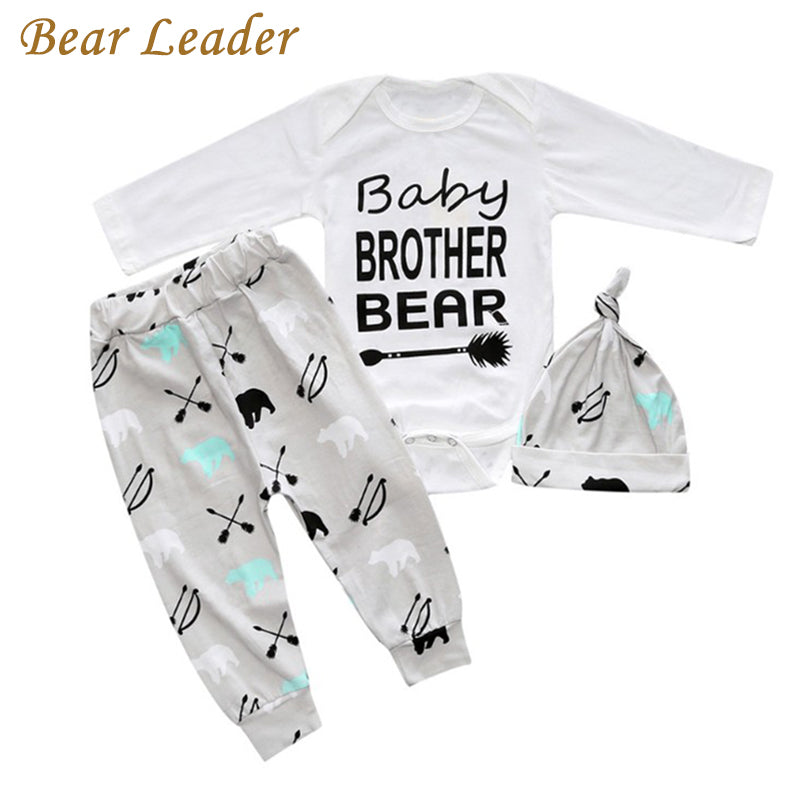 d00b1e767d17 Bear Leader New 3 Style Baby Clothing Sets Letter Prints Rompers+Hat+Pants  3pcs