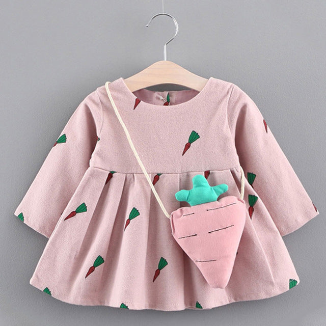 654f61203185 Bear Leader Baby Dresses 2018 New Spring Baby Girls Clothes Cute Carrot  Printing Princess Newborn Dress Suit For 6M-24M