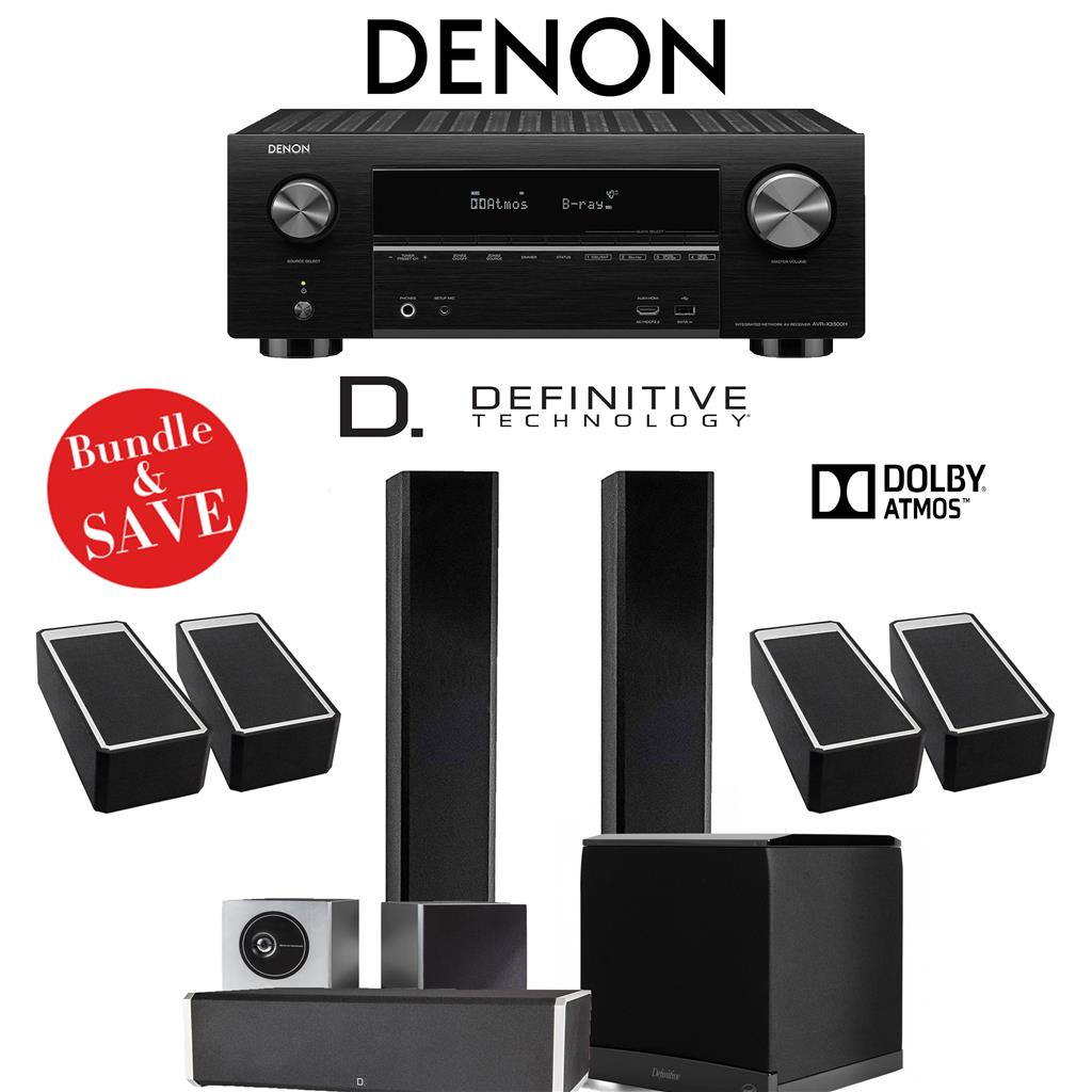 Definitive Technology BP9060 5 1 4-Ch High Performance Dolby Atmos Home  Theater System with Denon AVR-X3500H 7 2-Channel 4K Ultra HD Netw