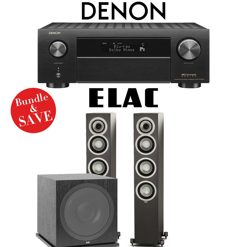 Denon AVR-X4500H 9 2-Ch High Power 4K Home Theater Receiver + Elac UF5 +  Elac Sub3030-2 1-Ch Home Theater Package (Satin Black)