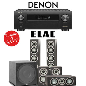 Elac Uni-Fi UF5 5.1-Ch Home Theater Speaker System (Satin Black) with Denon AVR-X4500H 9.2-Channel 4K Network A/V Receiver