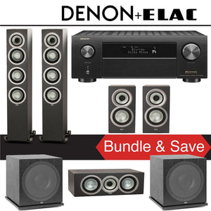 Elac Uni-Fi UF5 5.2-Ch Home Theater Speaker System (Satin Black) with Denon AVR-X4500H 9.2-Channel 4K Network A/V Receiver
