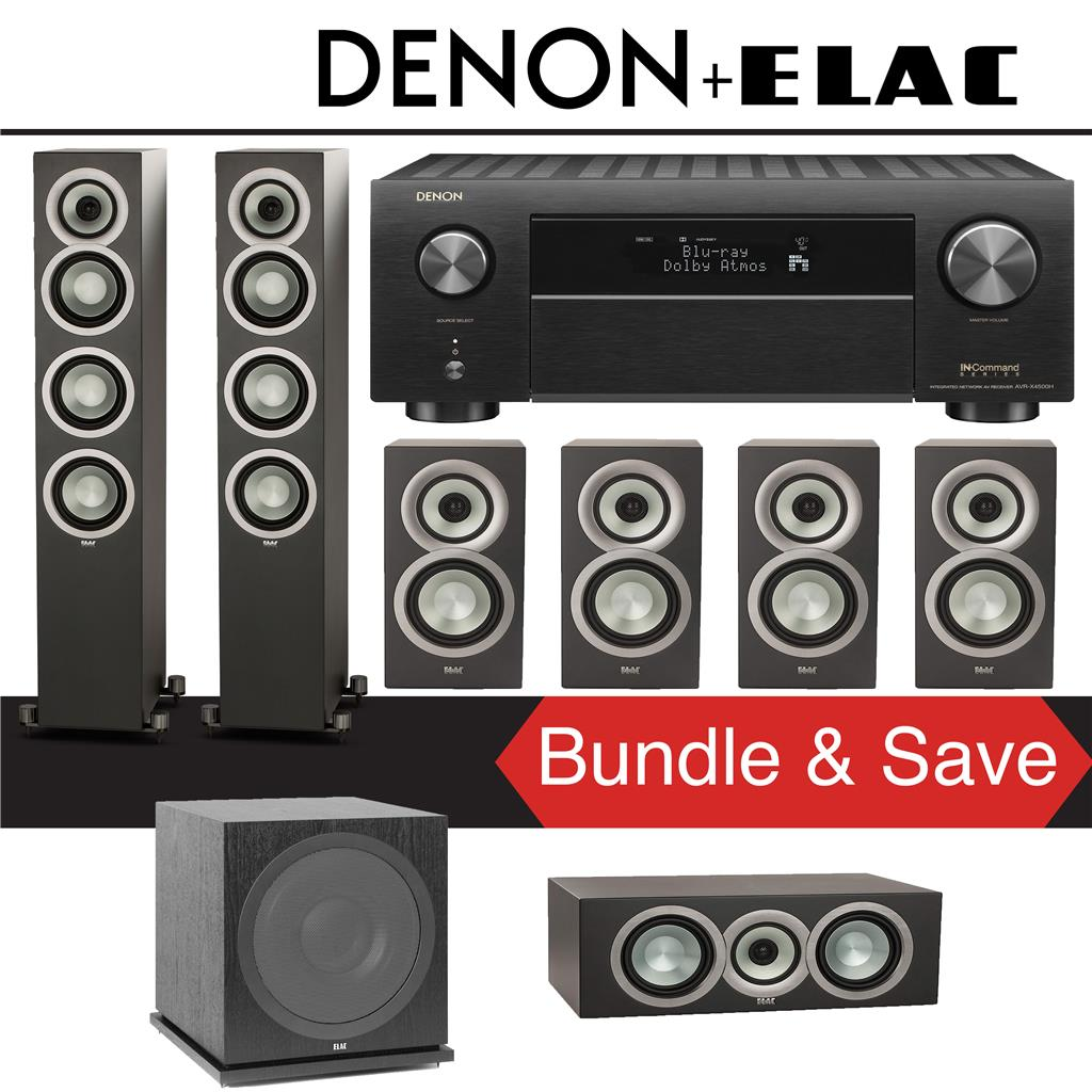 Elac Uni-Fi UF5 7 1-Ch Home Theater Speaker System (Satin Black) with Denon  AVR-X4500H 9 2-Channel 4K Network A/V Receiver