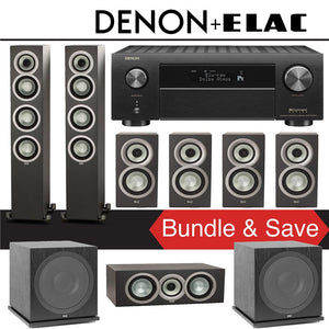Elac Uni-Fi UF5 7.2-Ch Home Theater Speaker System (Satin Black) with Denon AVR-X4500H 9.2-Channel 4K Network A/V Receiver
