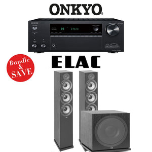 Onkyo TX-NR787 9.2-Channel 4K Network A/V Receiver + Elac F6.2 + Elac Sub3030-2.1-Ch Home Theater Package