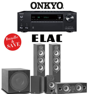 Elac F6.2 Debut 2.0 5.1-Ch Home Theater Speaker System with Onkyo TX-NR787 9.2-Channel 4K Network AV Receiver