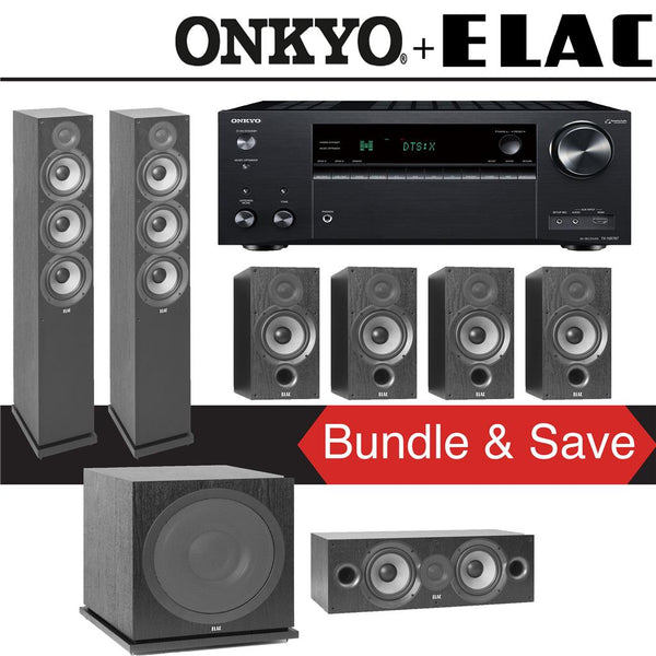 Elac F6.2 Debut 2.0 7.1-Ch Home Theater Speaker System with Onkyo TX-NR787 9.2-Channel 4K Network AV Receiver