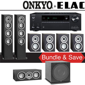 Elac Uni-Fi UF5 7.1-Ch Home Theater Speaker System with Onkyo TX-NR787 9.2-Channel 4K Network A/V Receiver