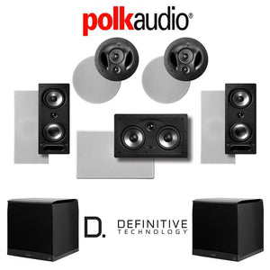 Polk Audio 265-RT 5.2-Ch Vanishing Series in-Wall/in-Ceiling Home Theater System (265-RT + 90-RT + 255C-RT + Definitive Technology SuperC...