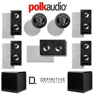 Polk Audio 265-RT 7.2-Ch Vanishing Series in-Wall/in-Ceiling Home Theater System (265-RT + 90-RT + 255C-RT + Definitive Technology SuperC...