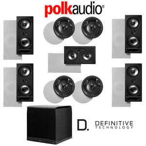 Polk Audio 265-RT 9.1-Ch Vanishing Series in-Wall/in-Ceiling Home Theater System (265-RT + 80F/X-RT + 255C-RT + Definitive Technology Sup...