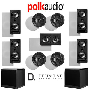 Polk Audio 265-RT 9.2-Ch Vanishing Series in-Wall/in-Ceiling Home Theater System (265-RT + 80F/X-RT + 255C-RT + Definitive Technology Sup...
