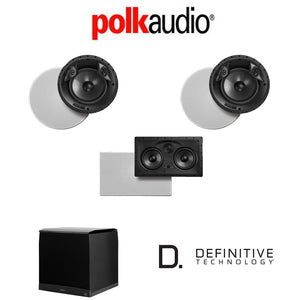 Polk Audio 80 F/X-LS 3.1-Ch Vanishing Series in-Ceiling/in-Wall Home Speaker System (80-F/X-LS + 255C-LS + Definitive Technology SuperCub...