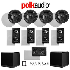 Polk Audio 80 F/X-LS 9.2-Ch Vanishing Series in-Ceiling/in-Wall Home Speaker System (80-F/X-LS + 265-LS + 255C-LS + SuperCube4000)