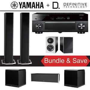 Definitive Technology BP9060 5.2-Ch High Performance Home Theater Speaker System with Yamaha AVENTAGE RX-A3080 9.2-Ch 4K Network A/V Rece...