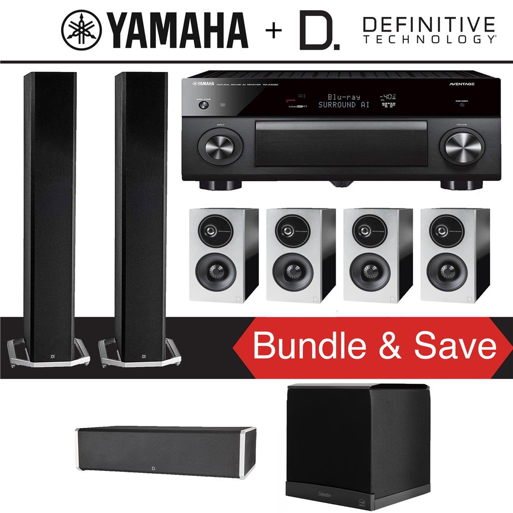 Definitive Technology BP9060 7 1-Ch High Performance Home Theater Speaker  System with Yamaha AVENTAGE RX-A3080 9 2-Ch 4K Network A/V Rece
