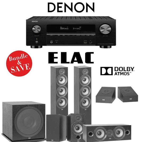 Elac F6.2 Debut 2.0 5.1.2-Ch Dolby Atmos Home Theater System with Denon AVR-X3500H 7.2-Channel 4K Networking AV Receiver