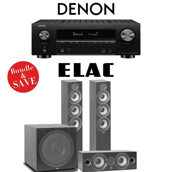Denon AVR-X3500H 7.2-Channel 4K Network AV Receiver + Elac F6.2 + Elac C6.2 + Elac Sub3030-3.1-Ch Home Theater Package