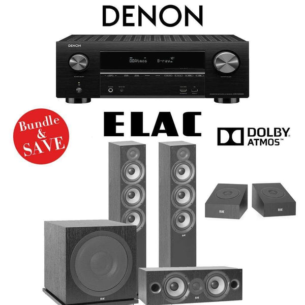 Elac F6.2 Debut 2.0 3.1.2-Ch Dolby Atmos Home Theater System with Denon AVR-X3500H 7.2-Channel 4K Networking AV Receiver