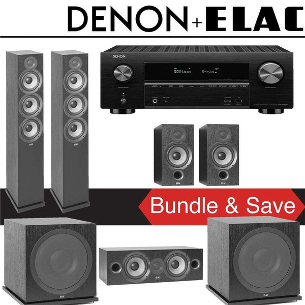 Elac F6.2 Debut 2.0 5.2-Ch Home Theater System with Denon AVR-X3500H 7.2-Channel 4K Networking AV Receiver