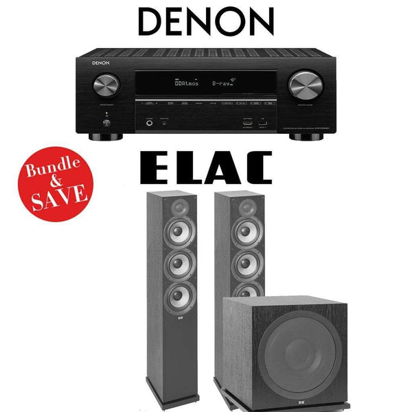 Denon AVR-X3500H 7.2-Channel 4K Network AV Receiver + Elac F6.2 + Elac Sub3030-2.1-Ch Home Theater Package