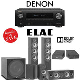 Elac F6.2 Debut 2.0 5.1.2-Ch Dolby Atmos Home Theater System with Denon AVR-X2500H 7.2-Channel 4K Networking AV Receiver - Stereo Advantage