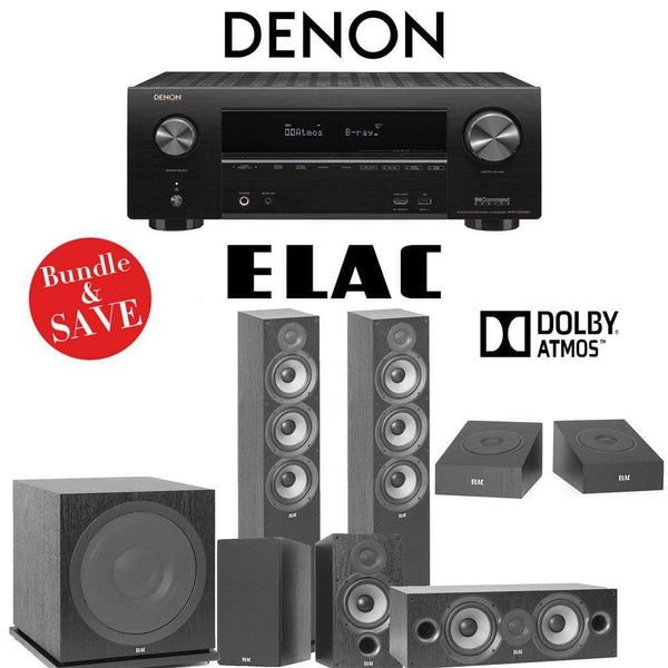 Elac F6.2 Debut 2.0 5.1.2-Ch Dolby Atmos Home Theater System with Denon AVR-X2500H 7.2-Channel 4K Networking AV Receiver