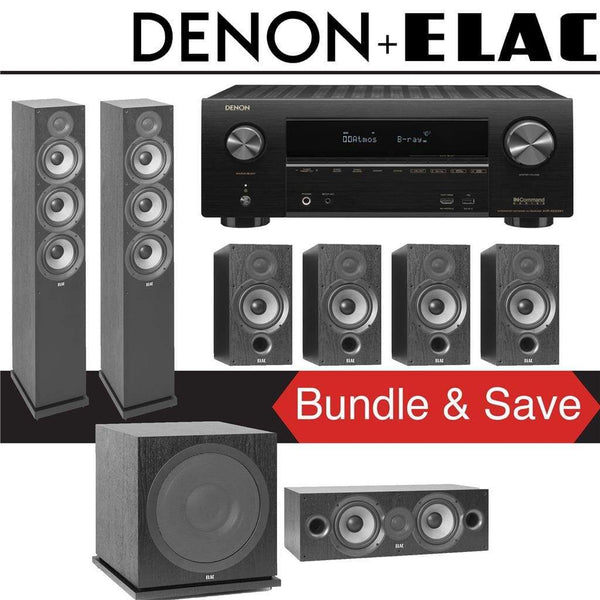 Elac F6.2 Debut 2.0 7.1-Ch Home Theater System with Denon AVR-X2500H 7.2-Channel 4K Networking AV Receiver