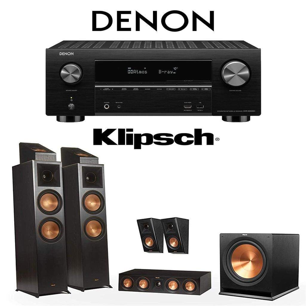 Klipsch RP-8000F 5.1.2 Dolby Atmos Home Theater System with Denon AVR-X3500H 7.2-Channel 4K Home Theater AV Receiver - Stereo Advantage