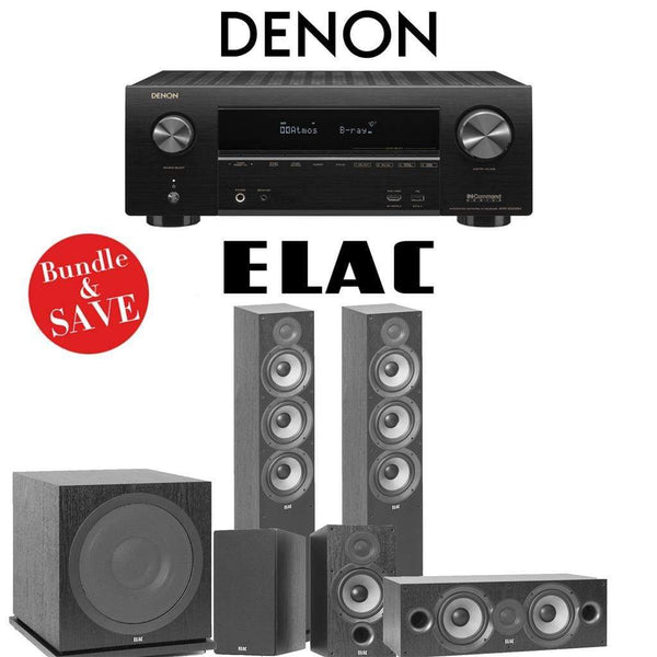 Elac F6.2 Debut 2.0 5.1-Ch Home Theater System with Denon AVR-X2500H 7.2-Channel 4K Networking AV Receiver