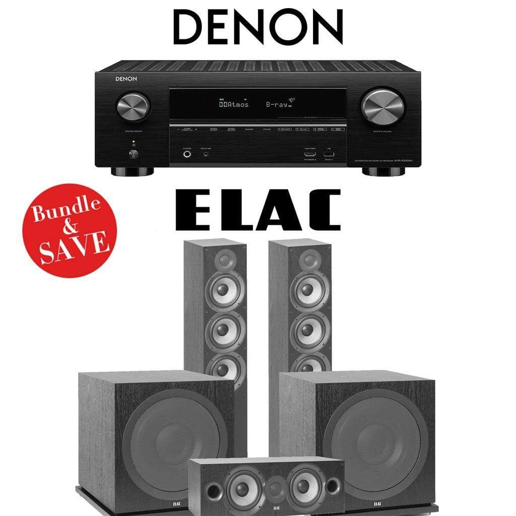 Elac F6.2 Debut 2.0 3.2-Ch Home Theater System with Denon AVR-X3500H 7.2-Channel 4K Networking AV Receiver - Stereo Advantage