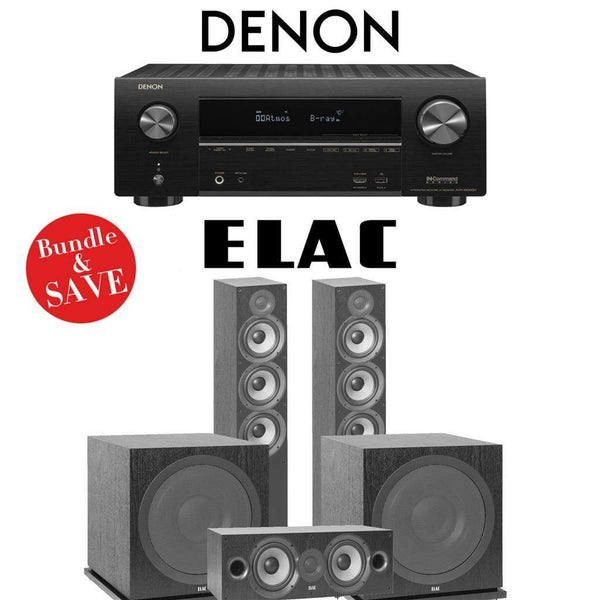 Elac F6.2 Debut 2.0 3.2-Ch Home Theater System with Denon AVR-X2500H 7.2-Channel 4K Networking AV Receiver