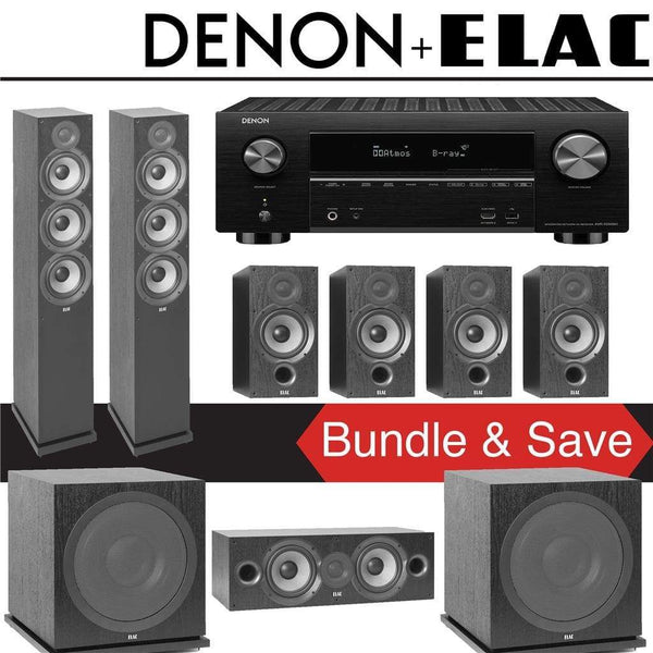 Elac F6.2 Debut 2.0 7.2-Ch Home Theater System with Denon AVR-X3500H 7.2-Channel 4K Networking AV Receiver